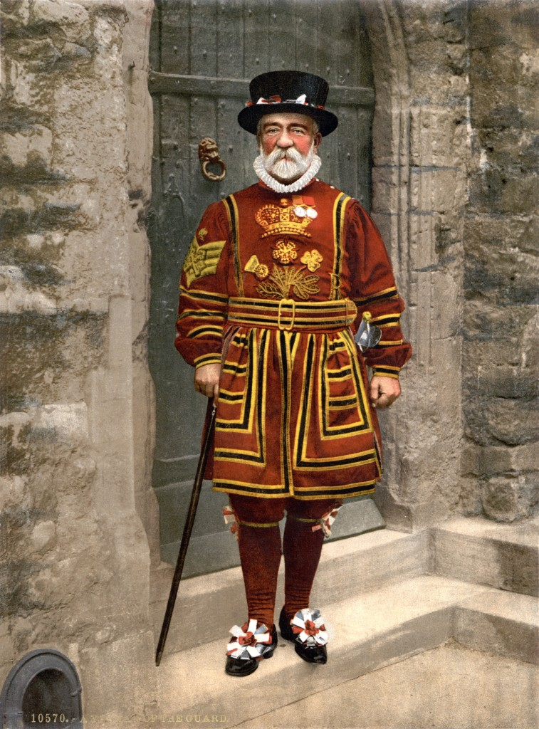 """Detroit Publishing Co. - A Yeoman of the Guard (N.B. actually a Yeoman Warder), full restoration"" by Adam Cuerden, Detroit Publishing Company - http://www.loc.gov/pictures/item/2002696943/. Licensed under Public domain via Wikimedia Commons - http://commons.wikimedia.org/wiki/File:Detroit_Publishing_Co._-_A_Yeoman_of_the_Guard_(N.B._actually_a_Yeoman_Warder),_full_restoration.jpg#mediaviewer/File:Detroit_Publishing_Co._-_A_Yeoman_of_the_Guard_(N.B._actually_a_Yeoman_Warder),_full_restoration.jpg"